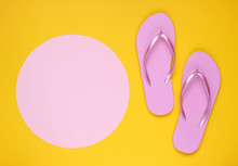 Pink Flip Flops On Yellow Back...