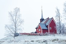 Wide Shot Of A Red Building In...