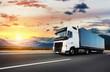 Leinwandbild Motiv European truck vehicle with dramatic sunset light
