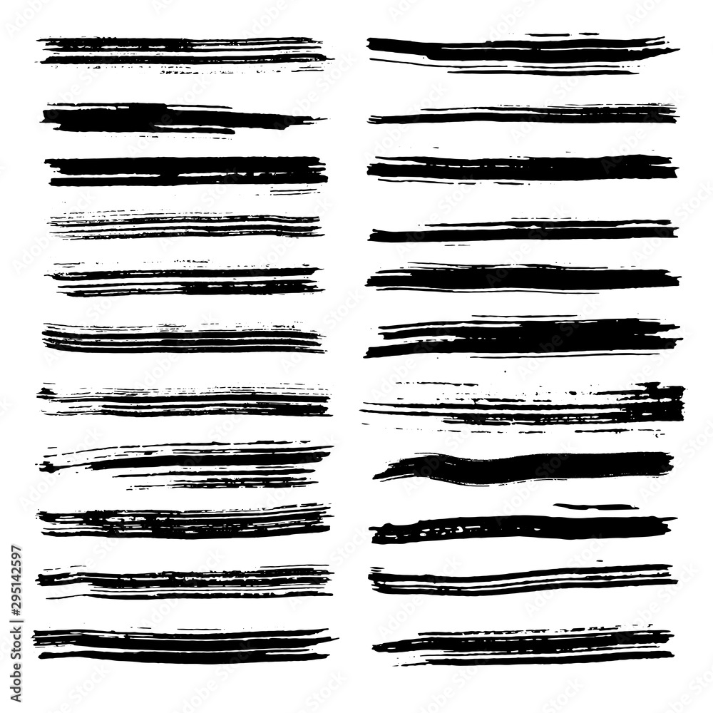 Fototapety, obrazy: Brush strokes for text fields. Vector brush set. Dirty banner texture. Ink splatter. Painted items. Strokes and ink lines.