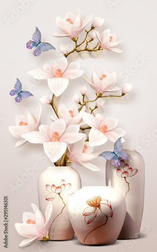 Fototapeta 3d mural vase with flowers and butterfly orchid on white background obraz