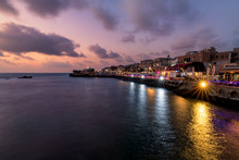 Old Akko City At Blue Hour