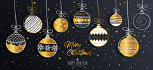Merry Christmas Greeting Card Set With Golden Text Elements And Modern Hand Drawn Baubles. Vector Illustration.