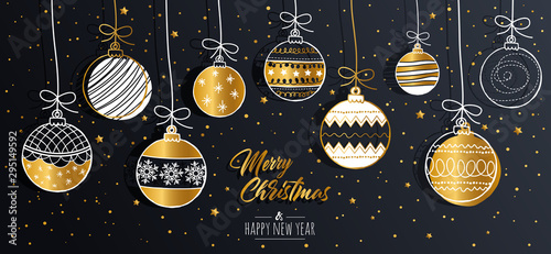 Obraz Merry Christmas greeting card set with golden text elements and modern hand drawn baubles. Vector illustration. - fototapety do salonu