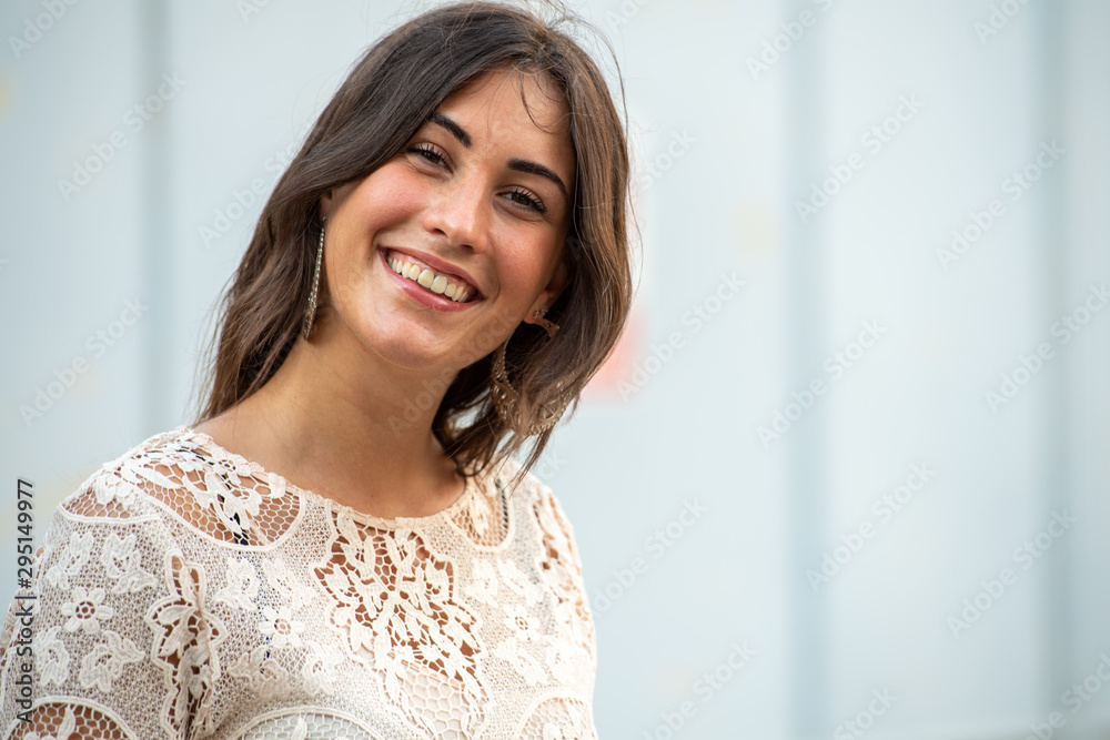 Fototapety, obrazy: Modella abito estivo grande sorriso