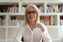 Smiling Mature Businesswoman Having Video Call In Office