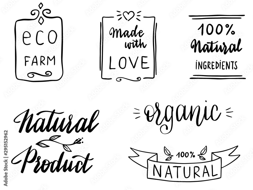 Fototapeta Set of hand written vector icons and words in vector: natural, ecologic, organic, vegan, 100%, eco.  Nice calligraphy elements for stamps or stickers.