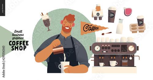 Coffee shop - small business illustrations - barista - modern flat vector concep Wallpaper Mural