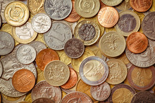 Background Of Euro Coins Money...
