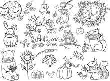 Set Of Doodle Autumn Animals I...