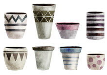 Set Of Watercolor Flower Pots. Hand Painted, Isolated On White Background.