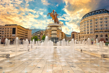 SKOPJE, NORTH MACEDONIA, 02 August 2019 - Alexander the Great Monument in Skopje with colorful fountains at sunset - Macedonia