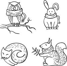 Set Of Doodle Autumn Animals I...