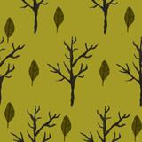 zima drzewa liscie zielone akwarela