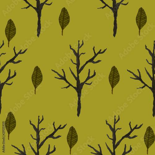 Obraz zima drzewa liscie zielone akwarela - fototapety do salonu