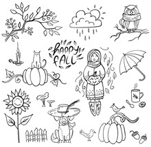 Set Of Doodle Autumn Elemetns And Lettering Happy Fall On White. Branch, Cup, Mushrooms, Girl, Pumpkin, Sunflower, Dog In Hat. Vector Illustration. Perfect For Coloring Book, Greeting Card, Print.