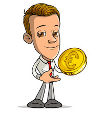 Cartoon Brunette Standing Funny Smiling Boy Character Showing Ok Gesture With Golden Euro Sign Coin. Isolated On White Background. Vector Icon.