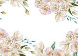 Frame of white roses. Eustoma. Isolated on a white background.
