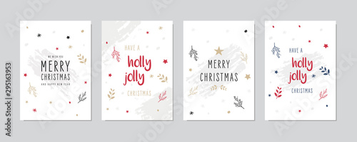 Christmas card set Holly jolly greeting lettering vector. - 295163953