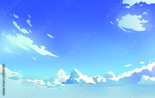 Vector landscape sky clouds. Sunny day. Anime style. Background design - 295167120