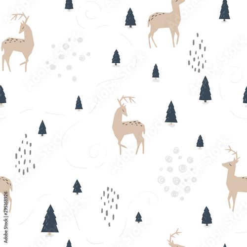 zimowy-las-i-jelen-wektor-wzor-ilustracja-w-prostym-skandynawskim-stylu-ograniczona-paleta-jest-idealna-do-drukowania-tekstyliow-tapet-w-pokoju-dziecinnym