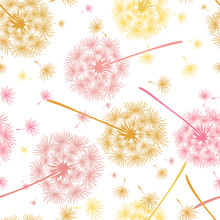 Seamless Pattern Of Flying Dandelions In Pink And Yellow Colors. Endless Floral Texture Of Delicate Flowers.  Vector Illustration Of A Dandelion.