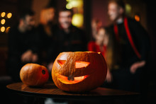 Halloween Carved Pumpkin On Th...