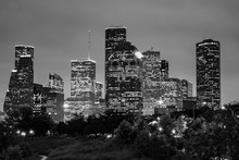 Downtown Houston And Eleanor Tinsley Park At Night - Monochrome