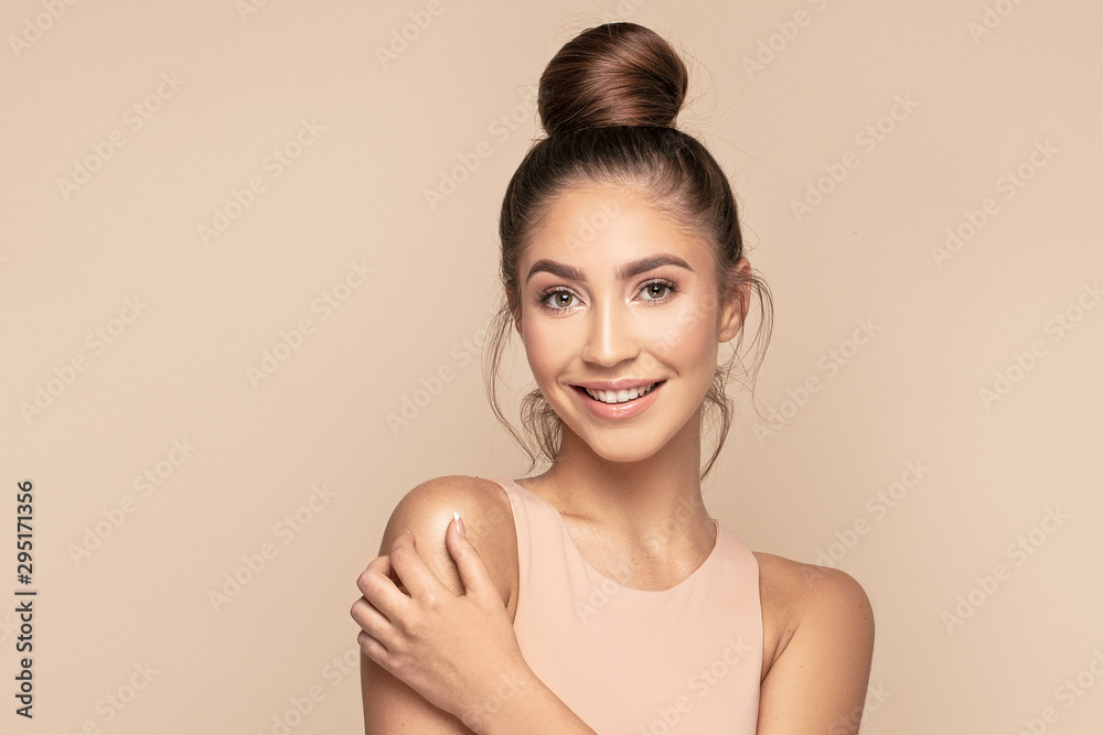 Fototapeta Female face with healthy natural skin
