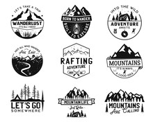 Vintage Camp Logos, Mountain Badges Set. Hand Drawn Labels Designs. Travel Expedition, Wanderlust And Hiking. Outdoor Emblems. Logotypes Collection. Stock Vector Isolated On White