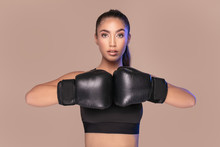 Sexy Woman In Boxing Gloves.