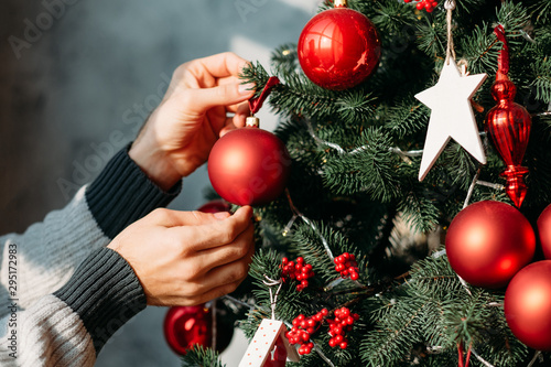 Fototapeta Winter holidays concept. Closeup of man hands decorating green fir tree with red ball ornaments. obraz