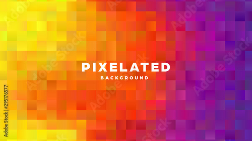 Polygonal abstract background with squares. Colorful gradient design. Low poly geometric rectangle shape modern banner. Vector illustration. - 295176577