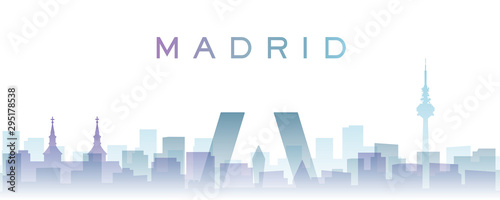 Foto  Madrid Transparent Layers Gradient Landmarks Skyline