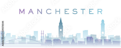 Photo Manchester Transparent Layers Gradient Landmarks Skyline