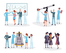 Scientists And Graduates Flat Illustrations Set. College Students, Chemists, Astronomers And Engineers Team Cartoon Characters. Professional Science And Academic Education Concept Design Elements