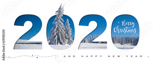 Fotomural  MERRY CHRISTMAS AND HAPPY NEW YEAR 2020
