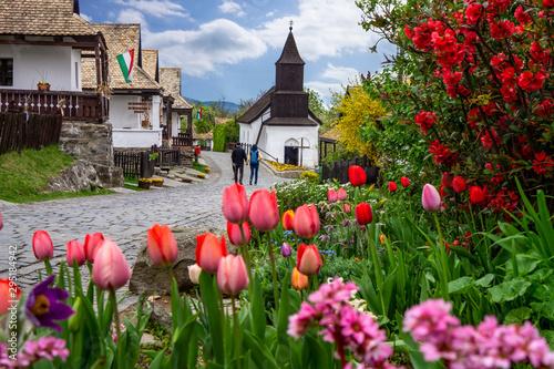 Fototapeta Little village Hollókő Holloko spring time in Hungary famous for easter celebrat