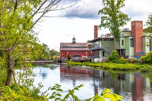 Water Scene New England Mill Town Building River Scene With Waterfall Red Building