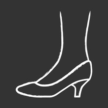 Kitten Heel Shoes Chalk Icon. Woman Stylish Formal Footwear Design. Female Casual And Formal Retro Pumps Side View. Fashionable Ladies Clothing Accessory. Isolated Vector Chalkboard Illustration