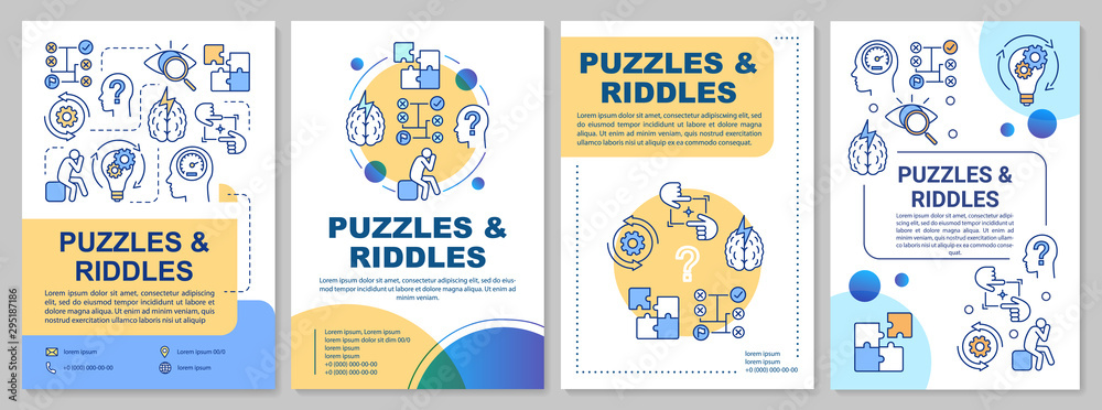 Fototapeta Puzzles and riddles brochure template. Escape room flyer, booklet, leaflet print, cover design with linear illustrations. Vector page layouts for magazines, annual reports, advertising posters