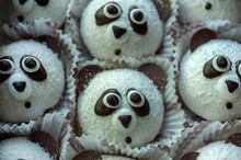 Funny Panda Cupcakes For Kids Background