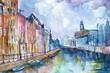 Ręcznie malowany akwarelą widok kanału w Amsterdamie w Holandii