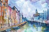 Fototapeta Miasto - Ręcznie malowany akwarelą widok kanału w Amsterdamie w Holandii