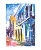 Fototapeta Miasto - Ręcznie malowany akwarelą widok ulicy  w Hawanie na Kubie