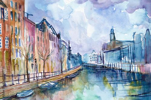 Fototapeta Ręcznie malowany akwarelą widok kanału w Amsterdamie w Holandii obraz
