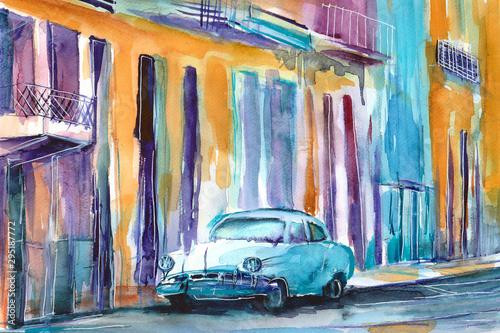 Fototapeta Ręcznie malowany akwarelą widok ulicy  w Hawanie na Kubie obraz