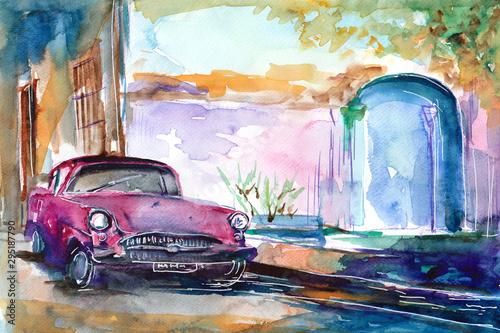 recznie-malowany-akwarela-widok-ulicy