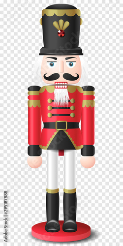 Cuadros en Lienzo Christmas vintage retro wooden nutcracker toy vector isolated on transparent bac