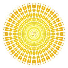 Сircle Openwork Mandala. Orange, Yellow, Red Colors. Sign Aum / Om / Ohm In Center. Spiritual Esoteric Symbol. Vector Graphics Art.